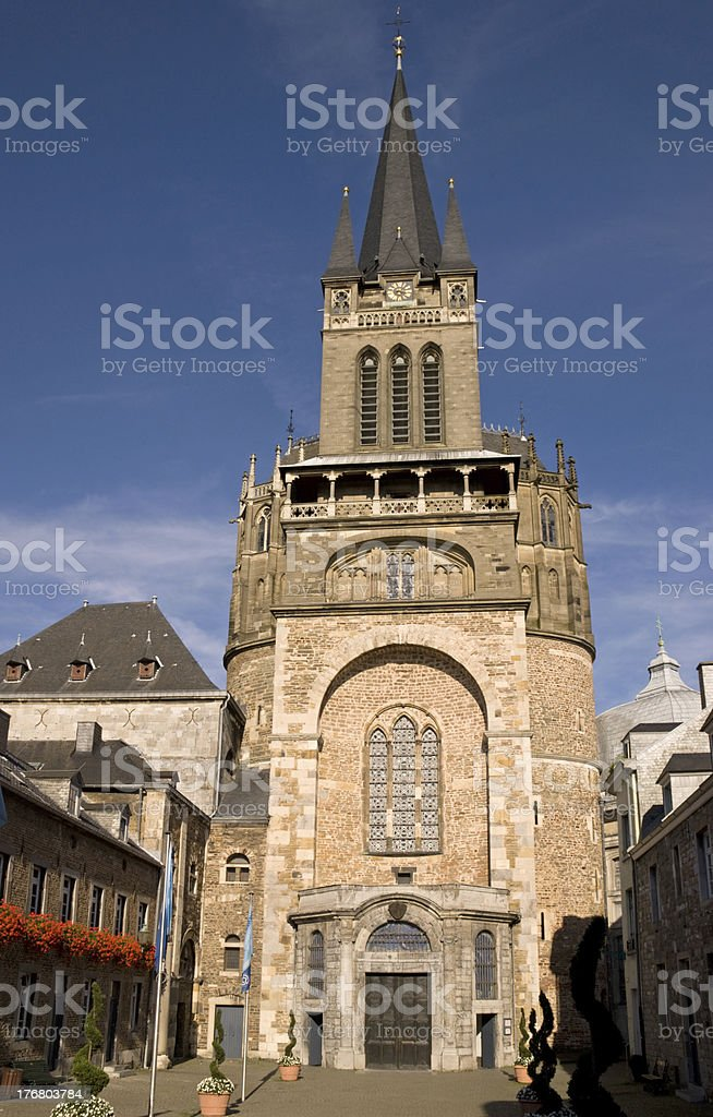West facade of Aachen Cathedral in the sunset light stock photo