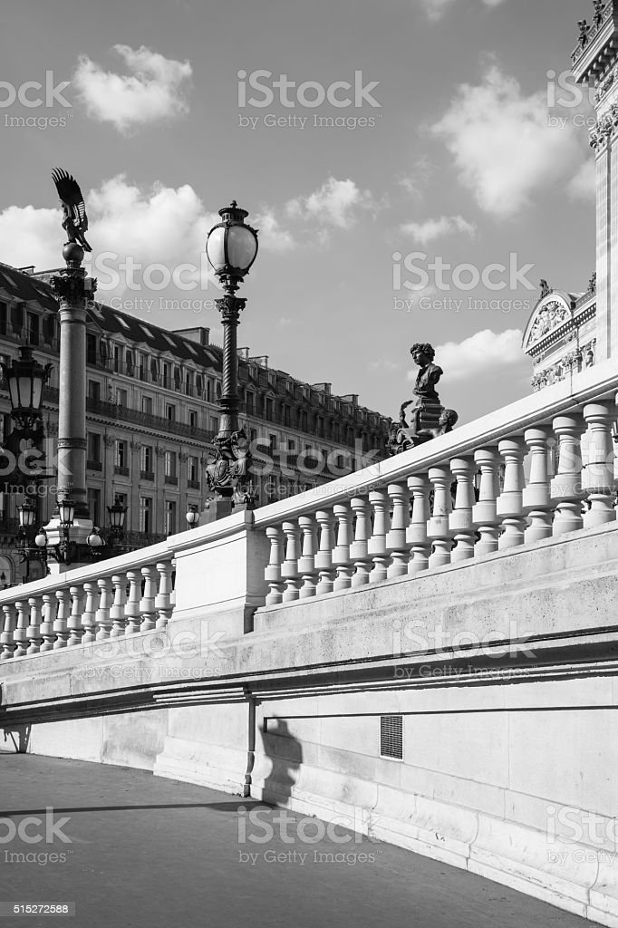 West facade of Grand Opera (Opera Garnier) in black & white , Paris stock photo