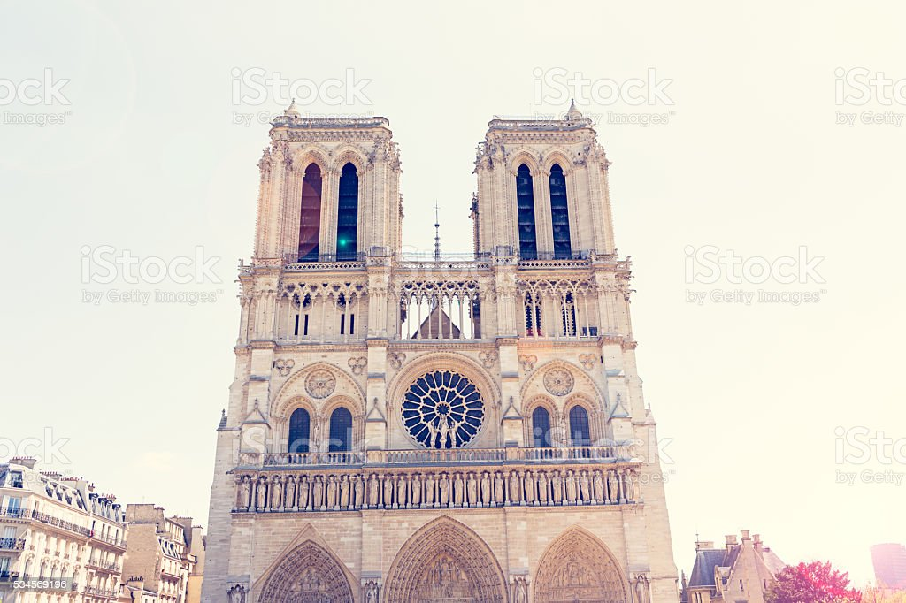 West facade of Notre Dame de Paris stock photo