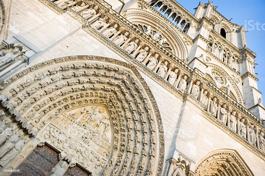 West facade of Notre Dame de Paris stock photo