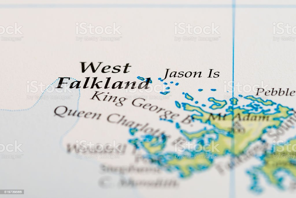 West Falkland Island map stock photo