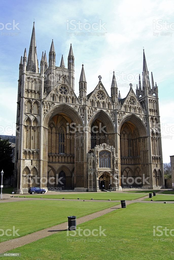 West front of Cathedral, Peterborough. stock photo