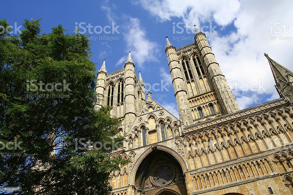 West front of Lincoln Cathedral, Lincoln, England royalty-free stock photo