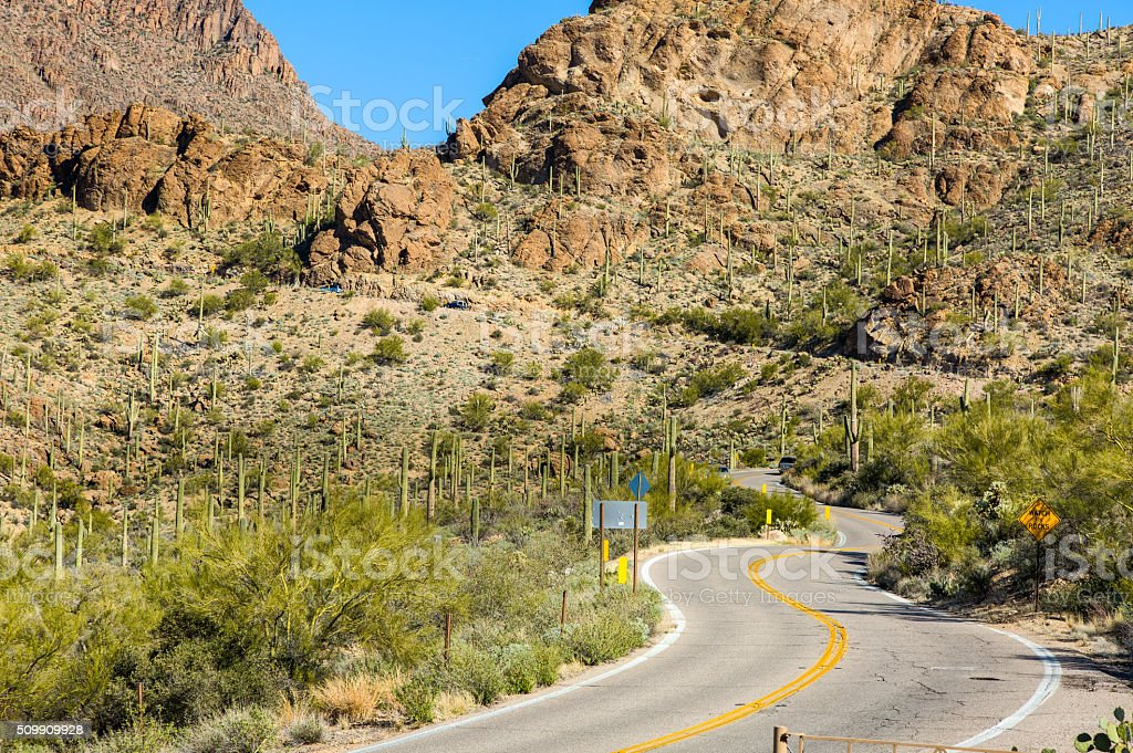 West Gates Pass Road Scenic Route, Tucson Mountains, Blue Sky stock photo