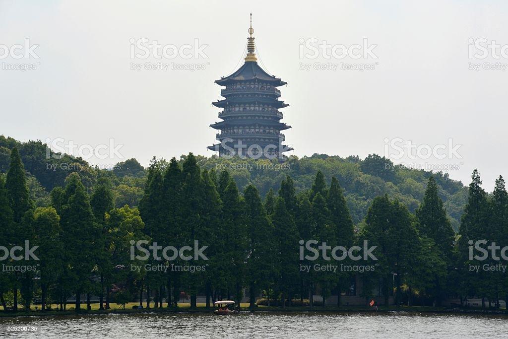 West Lake and Leifeng Pagoda, Hangzhou China stock photo