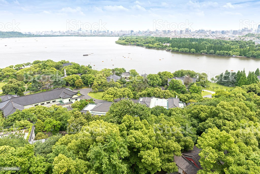 West Lake and the city of Hangzhou stock photo