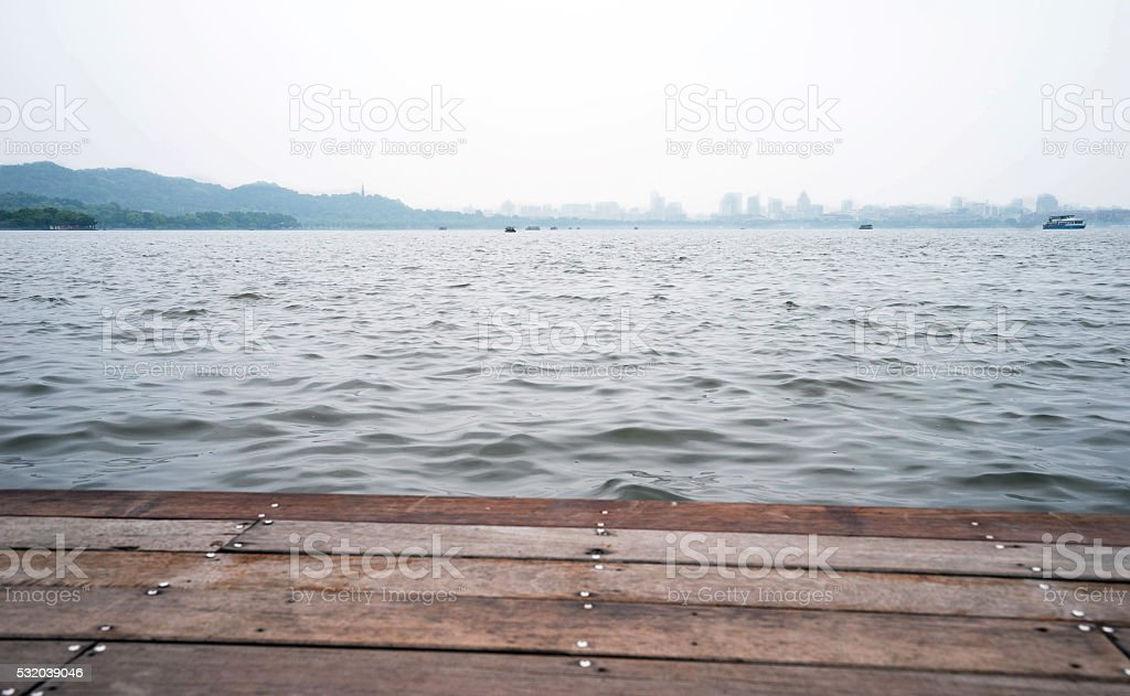 West Lake and town view stock photo