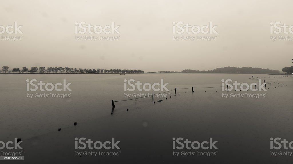 West Lake in the rain stock photo
