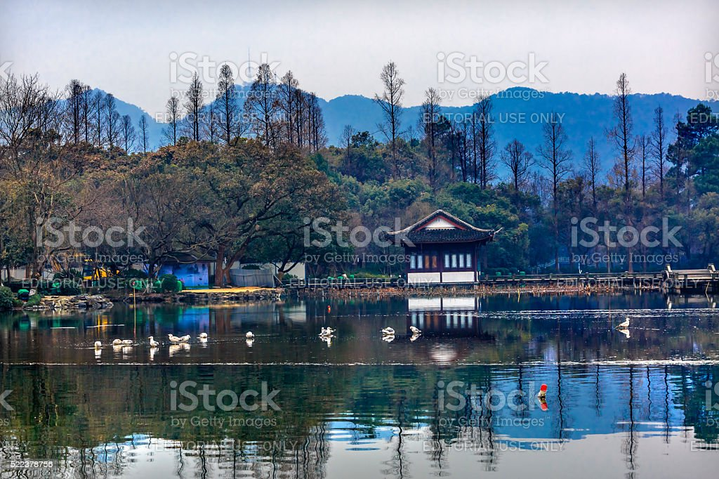 West Lake Reflection Hangzhou Zhejiang China stock photo