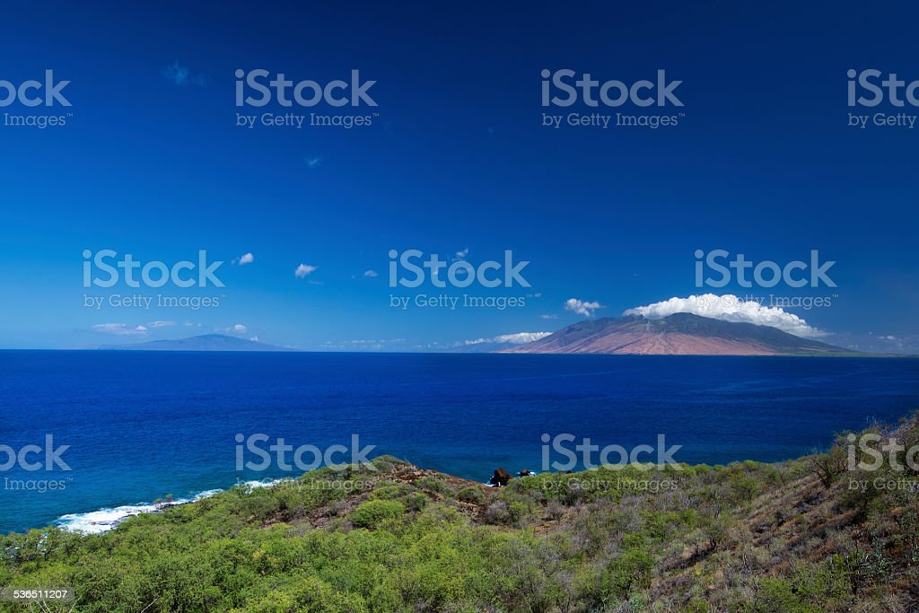 West Maui Mountains from south shore, Hawaii, USA stock photo