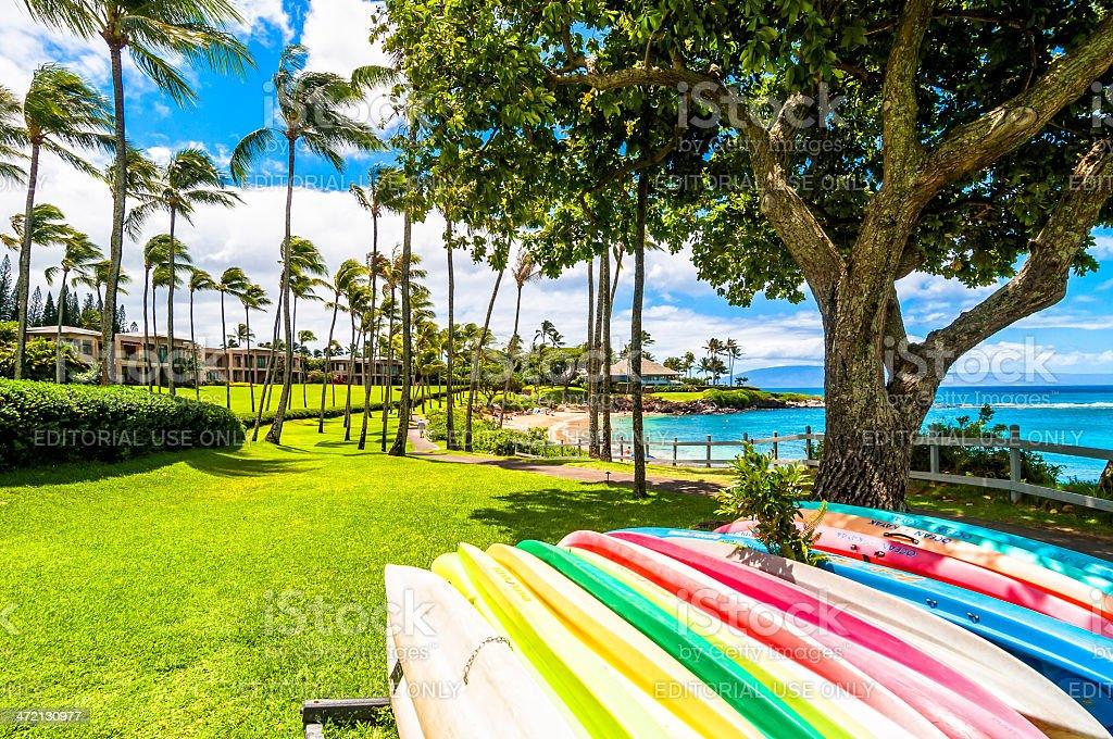 West Maui's famous Kaanapali area stock photo