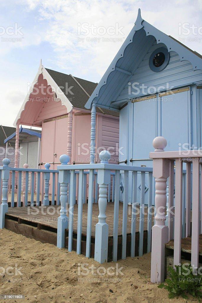 West Mersea Beach Huts stock photo