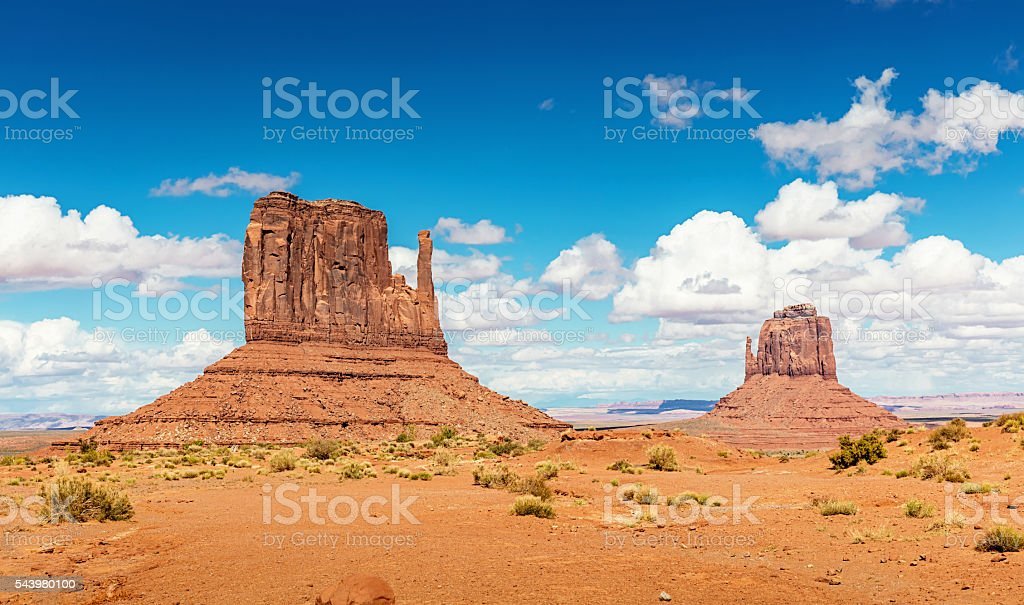 West Mitten and Merrick Butte Monument Valley Arizona stock photo