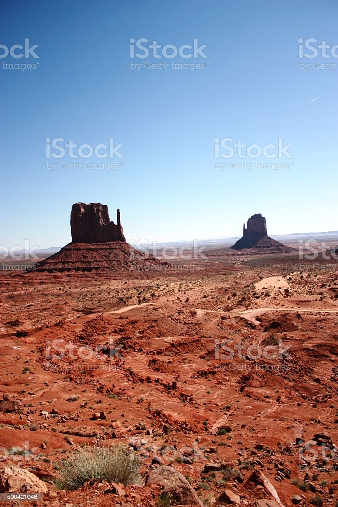 West Mitten Butte and East Mitten Butte in Monument Valley stock photo
