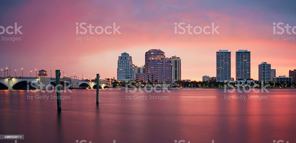 West Palm Beach Skyline Reflection stock photo