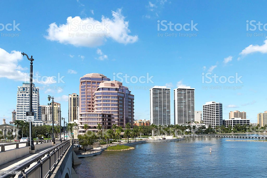 West Palm Beach skyline view from the Royal Park Bridge stock photo