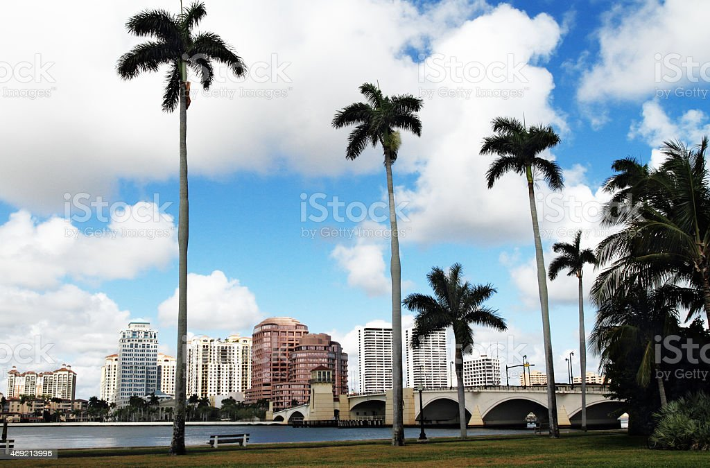West Palm Beach waterfront cityscape stock photo