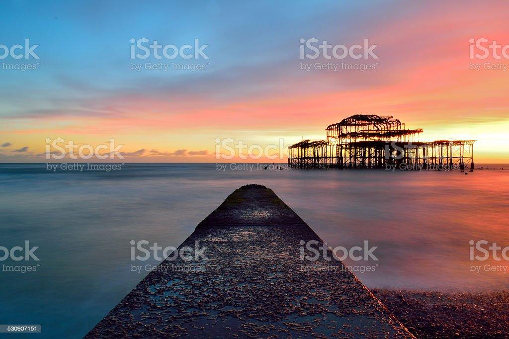 West Pier Brighton Sunset stock photo