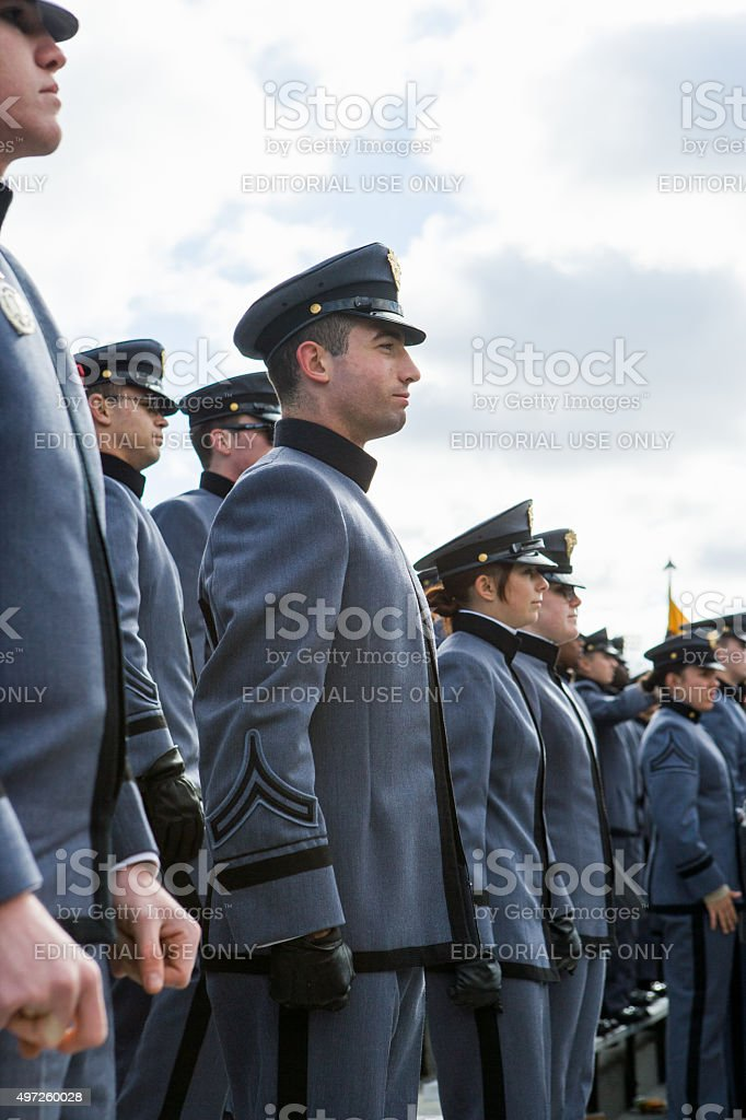 West Point cadets at attention during National Anthem. stock photo