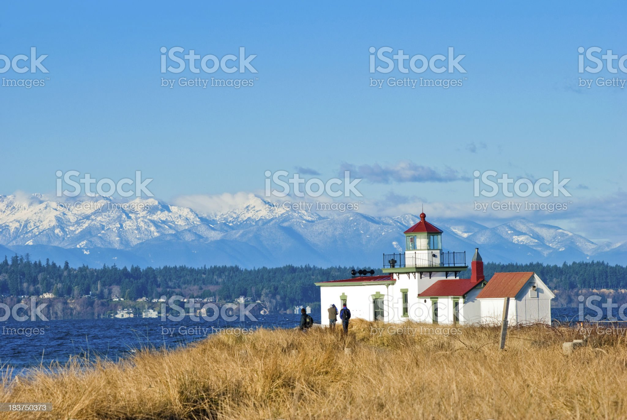 West Point Lighthouse at Discovery Park in Seattle, WA royalty-free stock photo