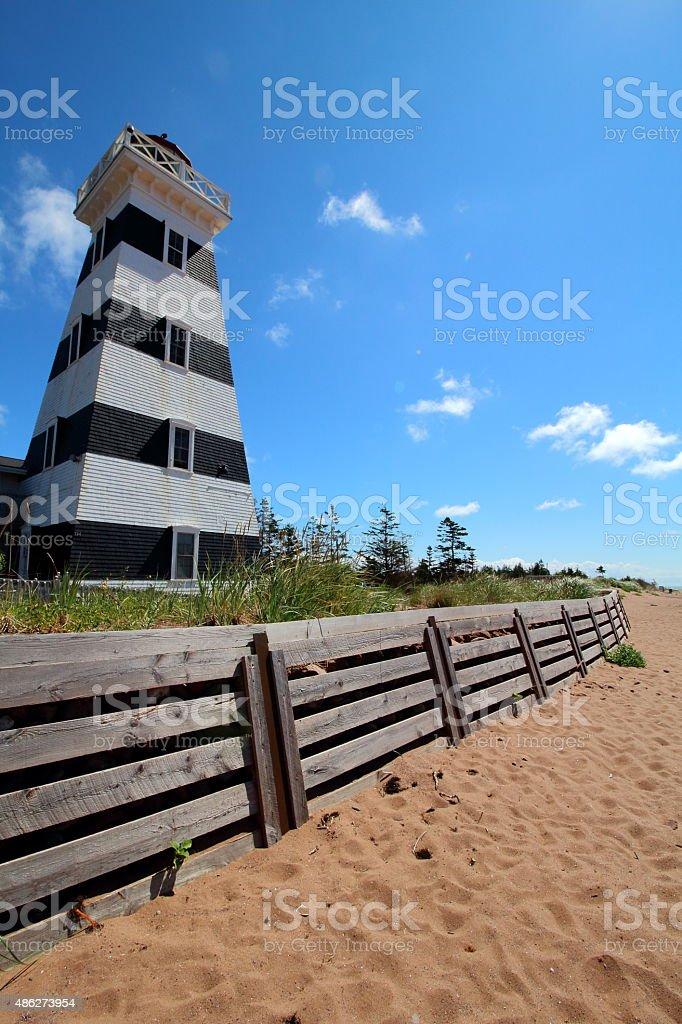 West point lighthouse beach view, Prince Edouard Island stock photo