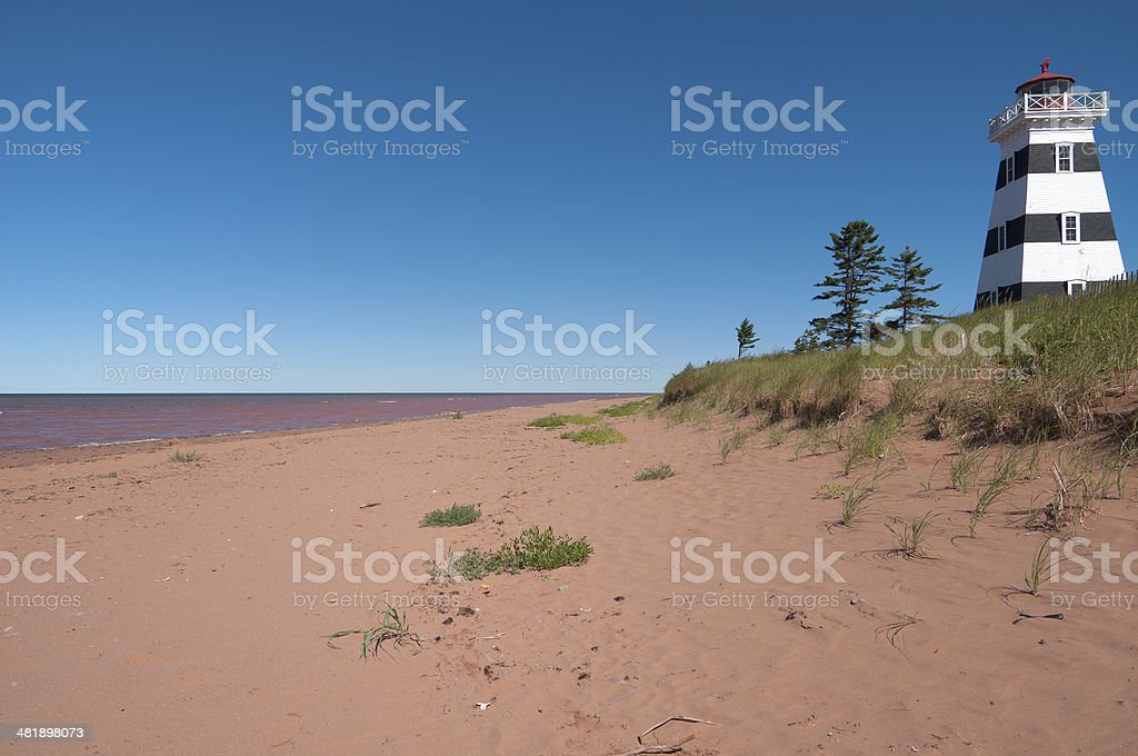 West Point Lighthouse by Grass Dunes, Prince Edward Island royalty-free stock photo