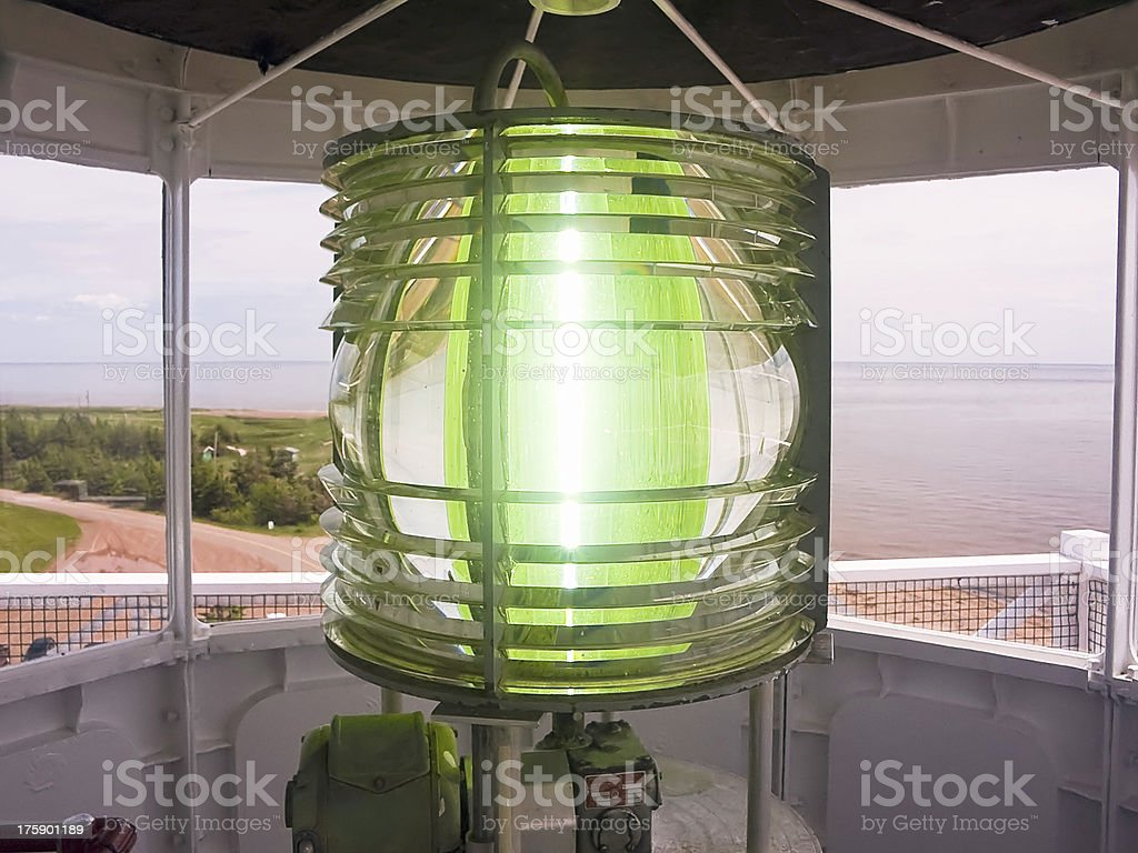 West Point Lighthouse Fresnel Lens stock photo