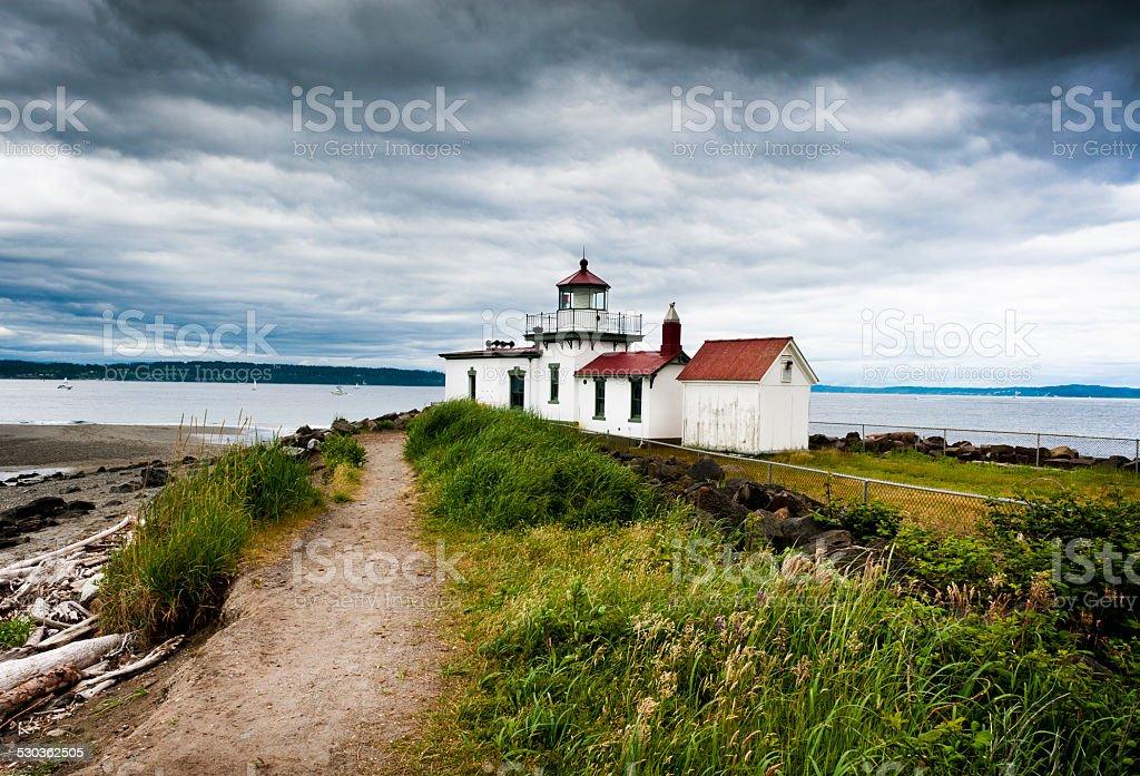 West Point Lighthouse, Seattle, Washington. stock photo