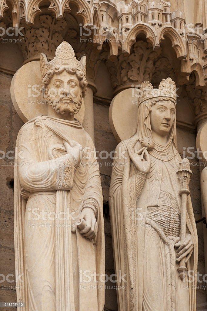 West portal of Notre Dame de Paris stock photo