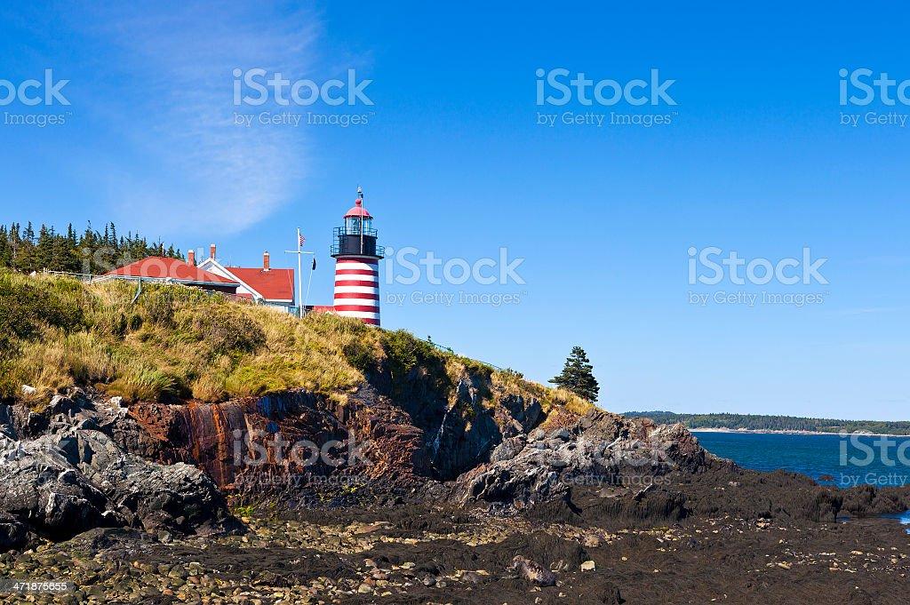 West Quoddy Head Light In Maine stock photo