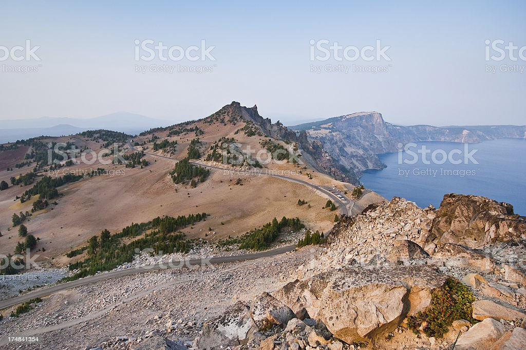 West Rim Drive, Hillman Peak and Crater Lake royalty-free stock photo