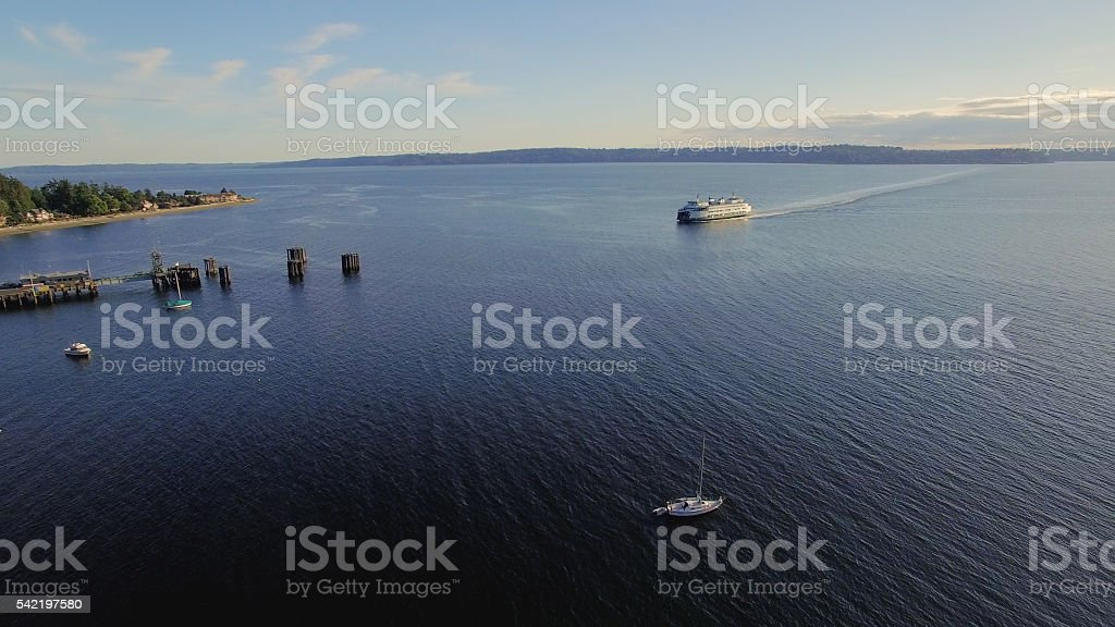West Seattle, Washington Aerial Fauntleroy Ferry Dock Terminal Puget Sound stock photo