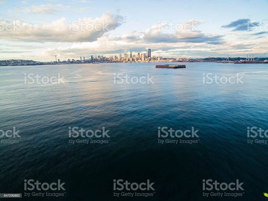 West Seattle Waterfront Downtown Seattle Skyline Sunset Golden Hour stock photo