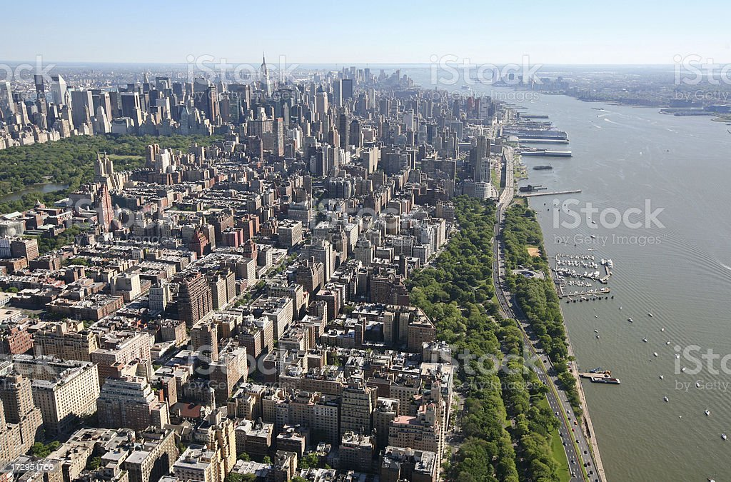 West Side Manhattan From The Air stock photo