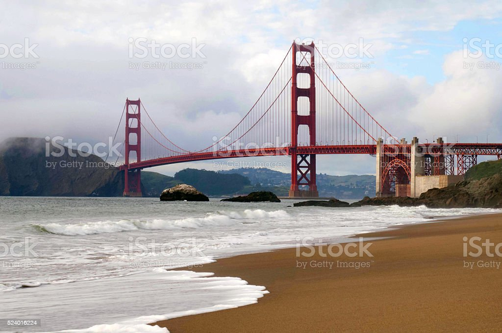 West Side of Golden Gate Bridge, San Francisco, California stock photo