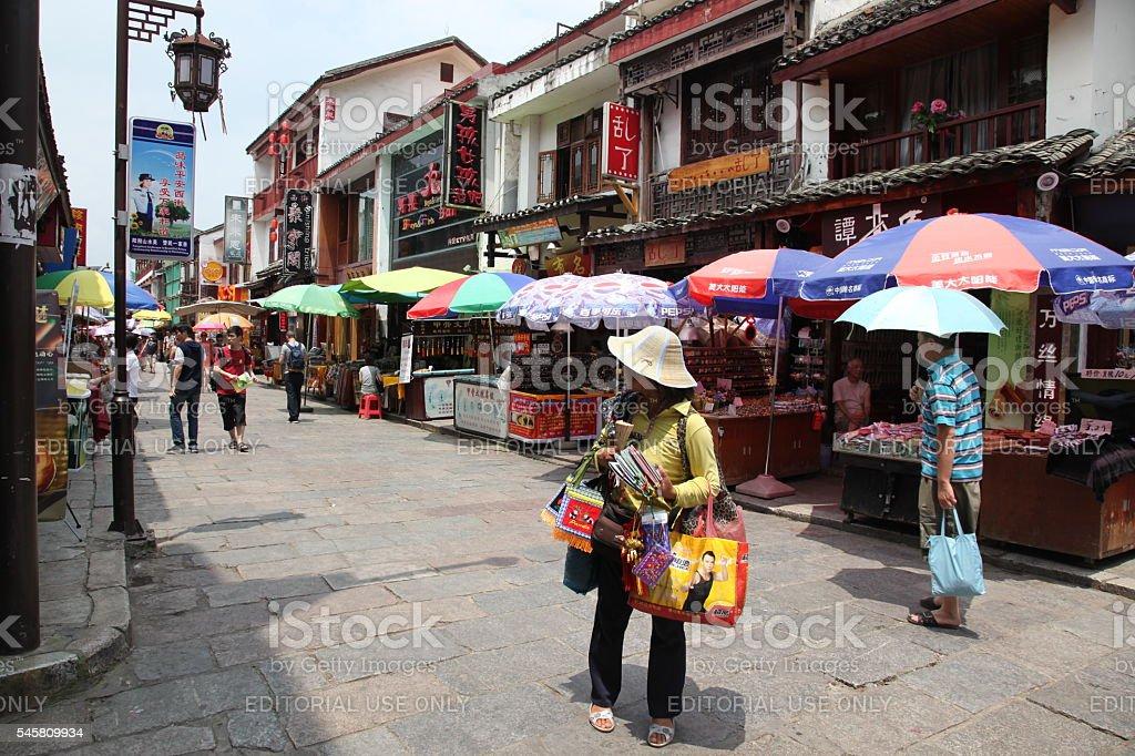 West street in Yangshuo, Guangxi, China stock photo