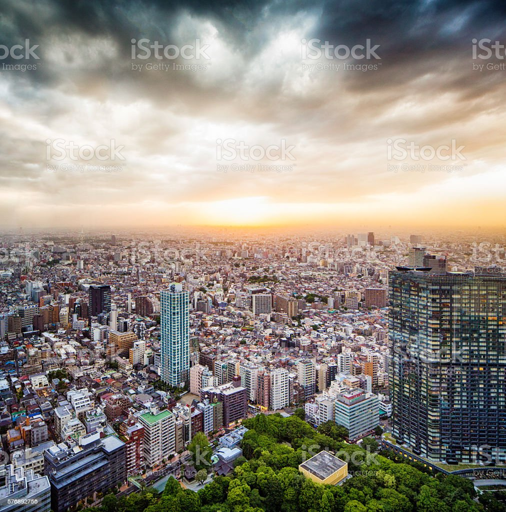 West Tokyo Japan aerial view with sunset and dramatic sky stock photo