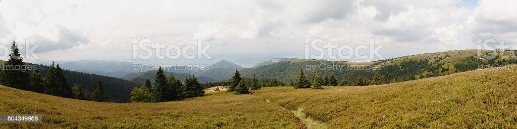 West view from Velka Luka mountain in Mala Fatra Mountains stock photo