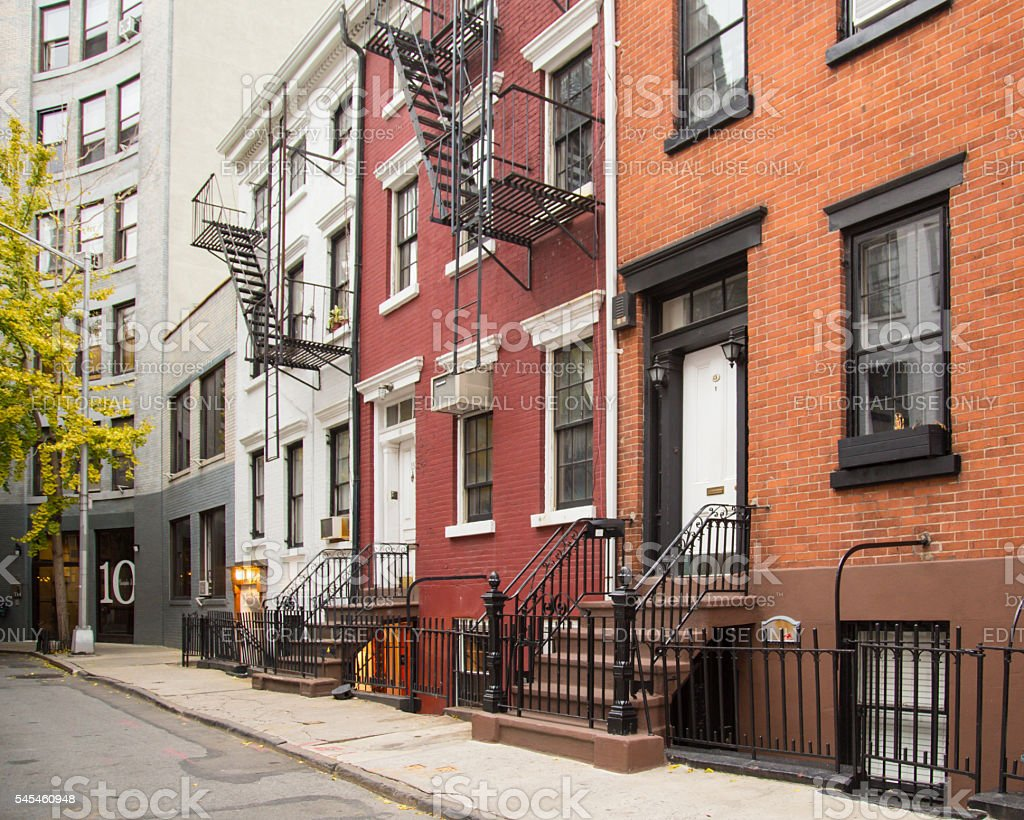 West Village NYC Street Homes stock photo