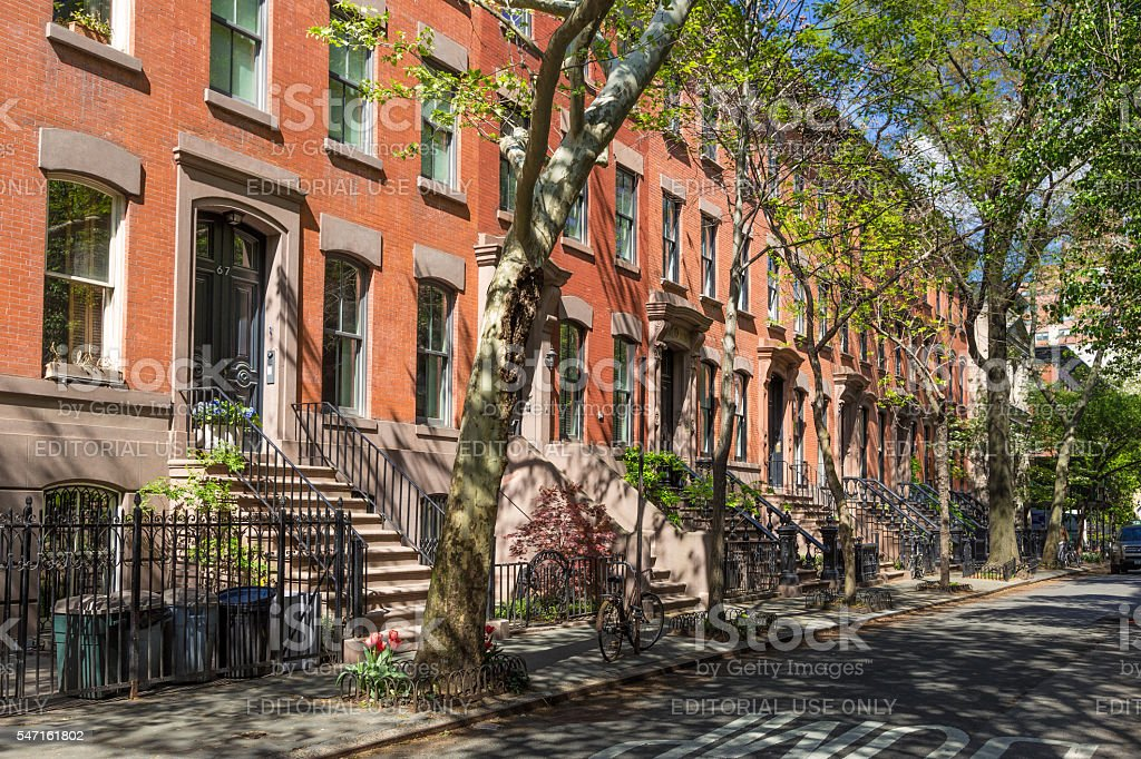 West Village Red Brick Townhouses (Row houses), New York City. stock photo