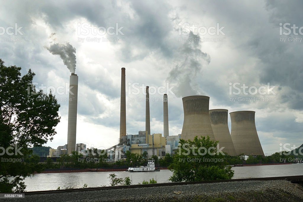 West Virginia coal fired power plant on Kanawha River stock photo