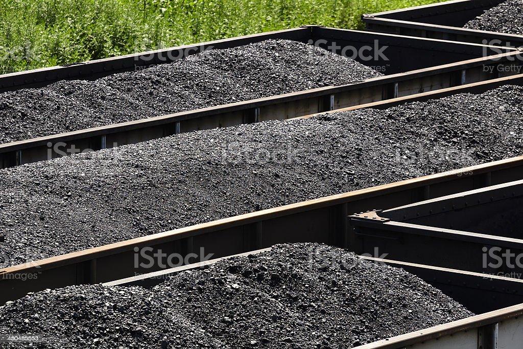 West Virginia Coal in Railroad Hopper Cars royalty-free stock photo