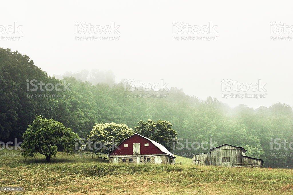 West Virginia farm on foggy day stock photo