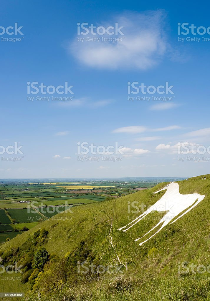 Westbury White Horse hill figure and blue sky, Wiltshire, UK royalty-free stock photo