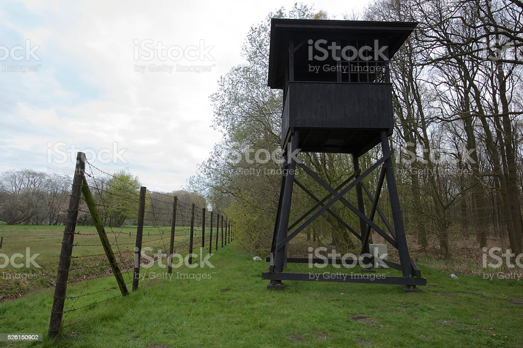 Westerbork Fence and tower stock photo