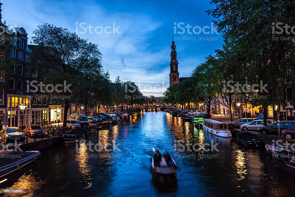 Westerkerk with old houses stock photo