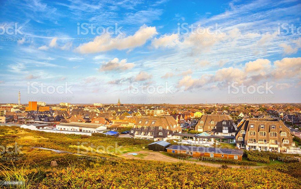 Westerland skyline at sunset - Autumn in Sylt stock photo