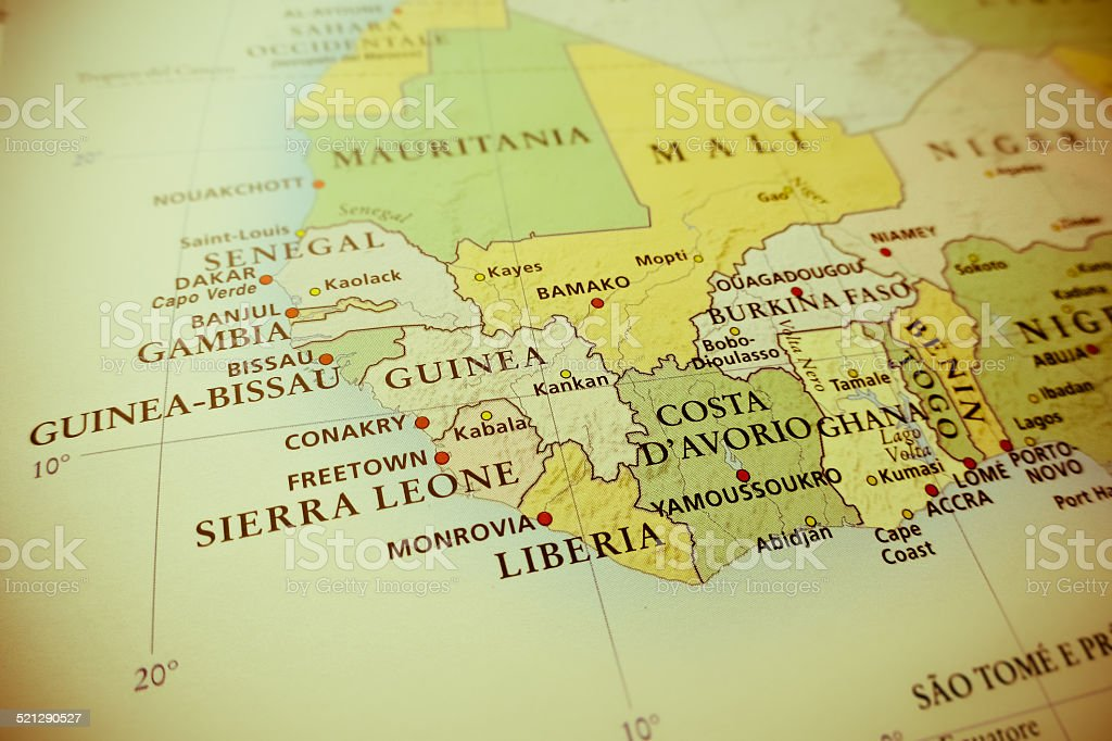 Western Africa map stock photo
