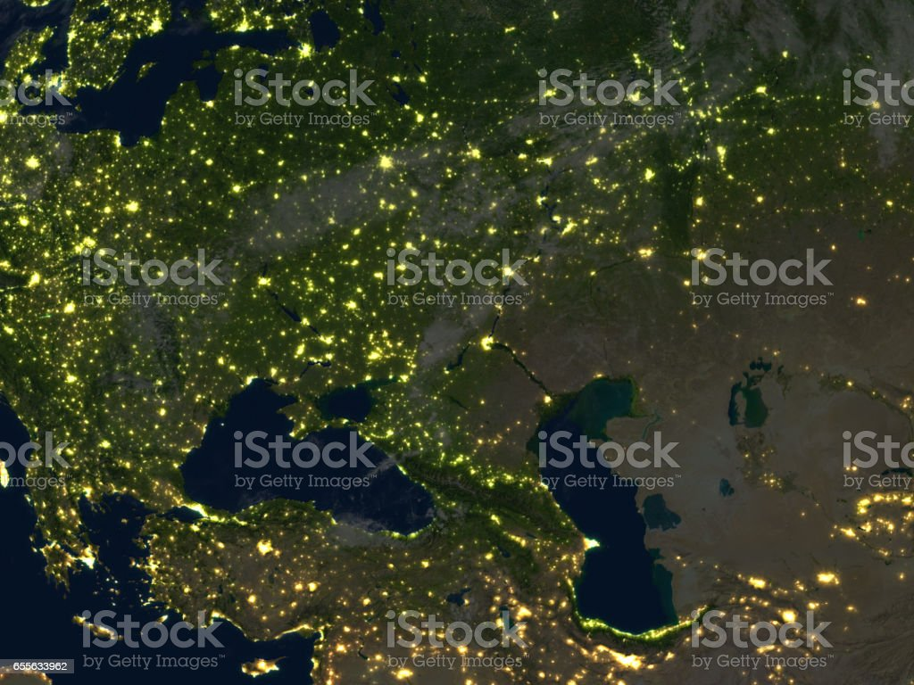 Western Asia at night on planet Earth stock photo