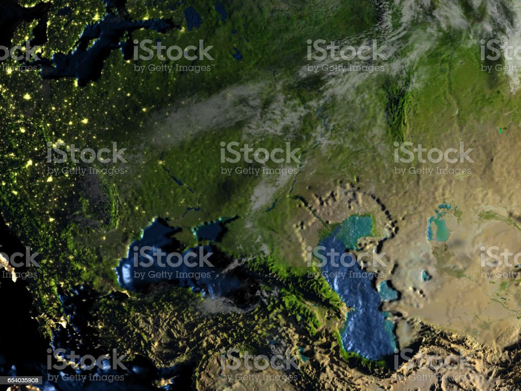 Western Asia on Earth at night - visible ocean floor stock photo